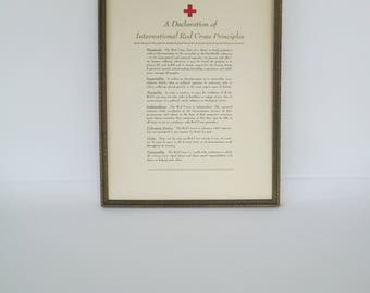 "Vintage Red Cross Principles, Framed Declaration, 17"" x 13"""