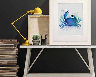 Nautical decor - Crab blue print - Crab wall art Coastal art Beach wall art UK seller Bathroom wall art Summer wall decor Blue wall art