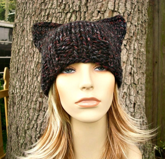Knit Hat Womens Hat - Black Cat Beanie Hat Blackstone Grey Knit Hat - Grey Hat Grey Beanie Black Cat Hat Black Beanie Womens Accessories
