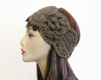 Crochet Headband with Flower Taupe Head band Taupe Ear Warmer light Brown Headwrap Knit Headband Light  Brown Headwrap light brown headband