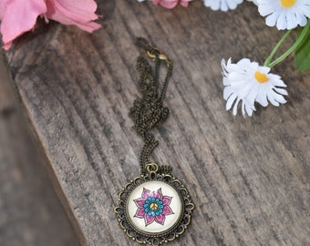 Peace Flower Necklace Psychedelic Art Floral Design Henna Mehndi Vintage Style Hand Drawn Handmade Jewelry Happiness Free Spirit Symbolism