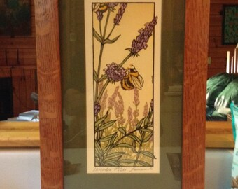 Framed Woodblock Print- Purple Flower (Signed and Numbered)