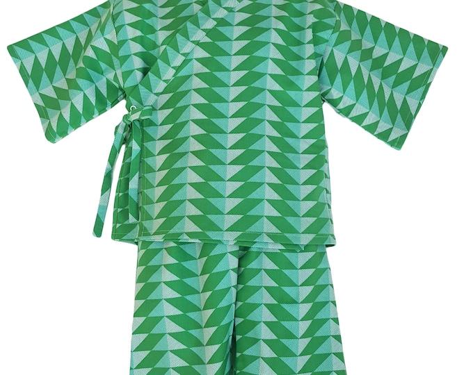 Kids Kimono Jinbei - GREEN GEOMETRY - Japanese pajamas loungewear kimono outfit pajamas