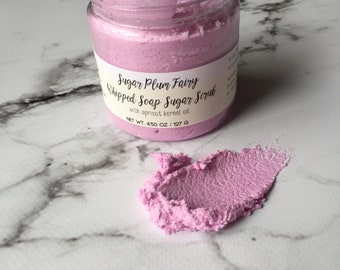 Sugar plum fairy Scrub / Whipped soap sugar scrub /  Foaming scrub /  Exfoliating scrub - Sugar scrub - Exfoliating Scrub / Soft Skin