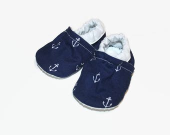 Nautical baby shoes anchor booties anchor moccasins toddler slippers baby booties soft sole shoes vegan shoes boy girl shoes blue baby shoes