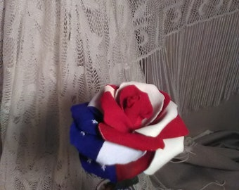 4th of July-Leather Roses Handmade by USA ARTIST!