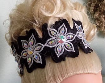 Irish Dance Embroidered lace side Tiara with color fabric backing with marquis Diamante rhinestones