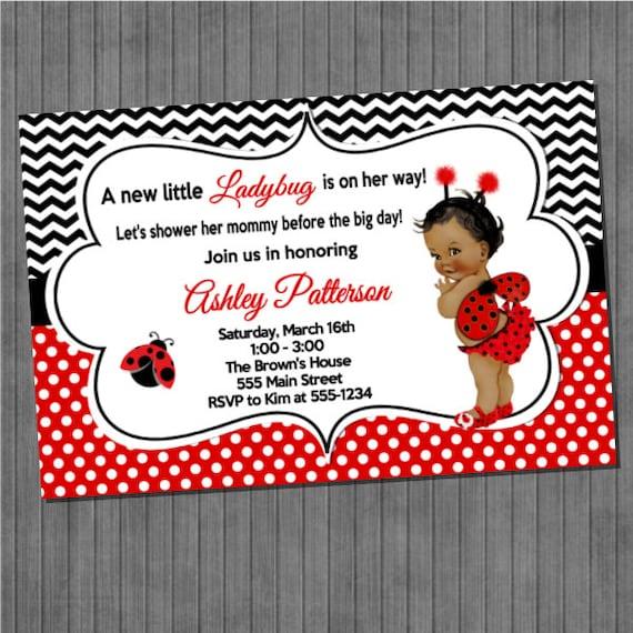 Little Ladybug Baby Shower Invitations