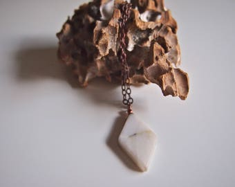 Long Copper Howlite Gemstone Necklace
