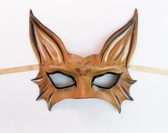 Spotted Cat Wildcat Leather Mask costume entirely handcrafted very lightweight
