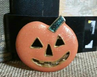 Halloween Jack O Latern Brooch/AAI Orange With Gold Tone Glitter Halloween Pumpkin/Halloween Jewelry/1990s Costume Jewelry