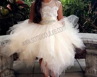 flower girl dress 'Bianca' with rhinestone sash, tan sheer netting, French lace, pouffy butterscotch tulle skirt, birthday dress