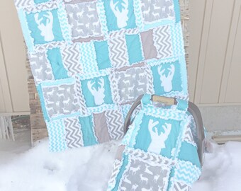 Woodland Quilt - Gray / Turquoise Quilt- Hunting Rag Quilts- Deer Bedding- Rustic Nursery Decor- Grey Crib Bedding - Outdoor Nursery