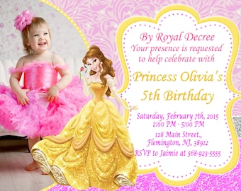 Princess belle party etsy princess belle invitation birthday party filmwisefo