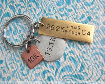 "Triple Charm Keychain .. 1-1/2"" Large Rectangle Tag & 3/4"" Medium Disc . Custom Metal Pendants . Hand Stamped . copper, silver or gold plate"