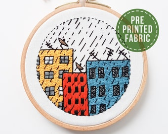 Cartoon city pre-printed fabric | Fabric + tutorial | Level 2 | Modern Hand embroidery | Funky design | Craft gift | DIY gift | Kushimari