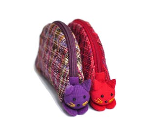 1 set have 5 cat, Gift wallet cotton wallet Cat coin purse Coin purse zipper Zipper pouch Change pouch Fashion wallet Women wallet Beauty
