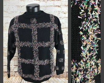 Women's Vintage Sweater - 80s punk rock sweater - black and hot pink - womens vintage clothing - acrylic pullover sweater
