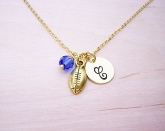 Football Necklace - Gold Initial Necklace - Birthstone Necklace - Gold Initial Disc Necklace - Personalized Necklace - Initial Charm