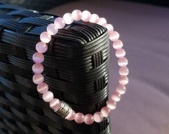 Simple Soft Pink Glass Beaded Elastic Bracelet