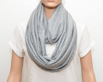 Light Gray Infinity Scarf, gray scarf, heather gray scarf, heather gray infinity scarf