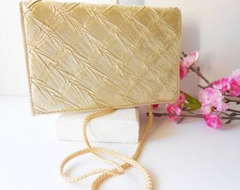 Gold Evening Bag, Vintage Gold Purse, Metallic Purse, Clutch Handbag, Formal Clutch, Evening Purse, Gold Clutch Bag  EB-0096