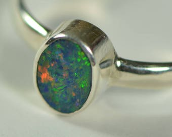 Opal Doublet Crystal Ring, Sterling Silver 925,Australian national gemstone,Dainty ring,Precious,Fashion,Hand Crafted,Man, Women,Gift,Dainty