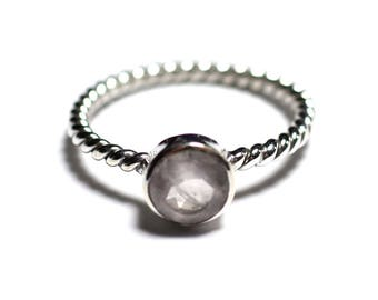 N231 - Ring 925 sterling silver and Stone - Rose Quartz faceted 6 mm ring twist