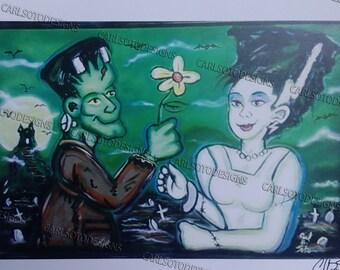 Frankenstein and Bride, Halloween romance print