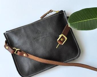 leather hip bag, black leather, belt bag, travel pouch, festival fanny pack, travel hip bag, fanny pack