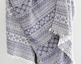 Navajo Throw Towel | Woven Cotton Towel | Festival Beach Towel Blanket | Indigo Blue Geometric Sofa Throw/ Gypsy Throw | Valentines Day Gift