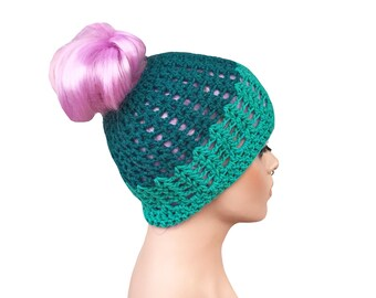 Messy Bun Beanie Bun Hole Beanie Bun Beanie Turquoise ONE OF A KIND Will not be re listed