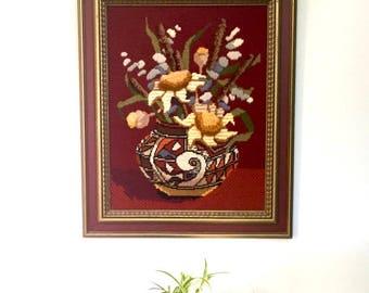 Vintage Framed Floral Crewel Needlepoint Wall Hanging