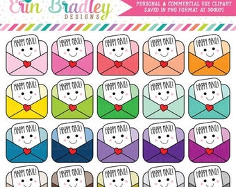 80% OFF SALE Kawaii Happy Mail Clipart Personal & Commercial Use Mail or Bill Planner Clip Art Graphics