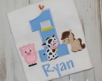 Farm Birthday shirt, Barn Birthday shirt, Farm Animal shirt, Barn Animal birthday shirt, Boys Birthday, Girls birthday, sew cute creations