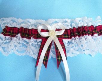 Wallace tartan bridal wedding garter ivory or white