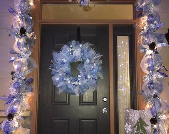 Christmas Door Garland with lights
