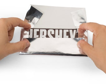 "Foil Wrapper Pack of 100 Candy Bar Wrappers with  Paper Backing - Best for Wrapping 1.55Oz Hershey bars Size 6"" X 7.5"