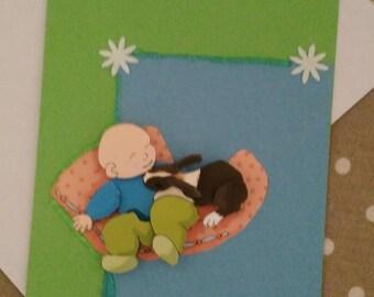 """Card 3D """"boy with bunny"""""""