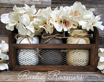 Mason Jar Box, Mason Jars, Rustic Decor, Mason Jar Centerpiece, Rustic, Table  Centerpiece, Wood Box, Home Decor, Farmhouse Decor, Shabby Chi