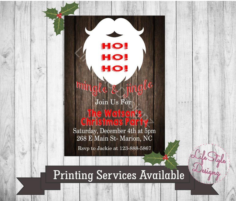 HO HO HO Christmas Party Invitation Jingle and Mingle