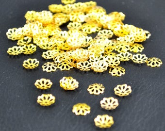 100 bead caps filigree 7 x 1 mm, gold