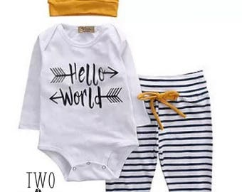 Hello World  Gorgeous new baby coming home outfit set - Bodysuit, Blue and White  stripey leggings and a beanie hat