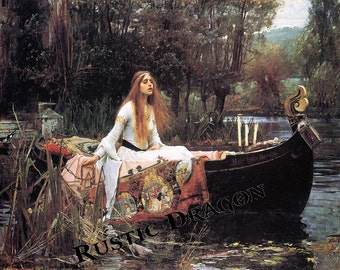 """John William Waterhouse """"The Lady of Shalott"""" 1887 Reproduction Digital Print Camelot Wicca Pagan Celtic"""