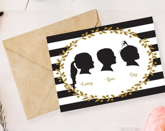 3 Custom Silhouette from your photo, Profile Silhouette, Silhouette Art, Silhouette Portrait, Birthday Gift, Nursery Silhouette