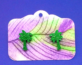 green glitter palm tree earrings studs