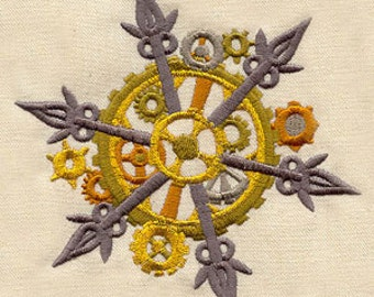 Cogs n Gears Steampunk Snowflake Embroidered Flour Sack Hand/Dish Towel