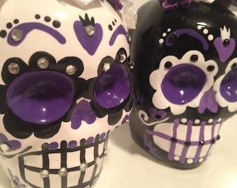 Sugar Skull Wedding Cake Toppers Custom 4 Inch Tall Handmade Hand Made Ceramic Pottery OHIO USA