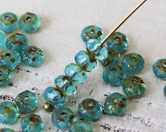3x5mm Czech Rondelle Beads - Czech Glass Beads For Jewelry Making - 5x3mm Firepolished Rondelles Blue Aqua With Picasso Finish  (30 beads)