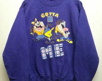 Rare !!! Vintage Looney Tunes Cartoon Purple Sweatshirt